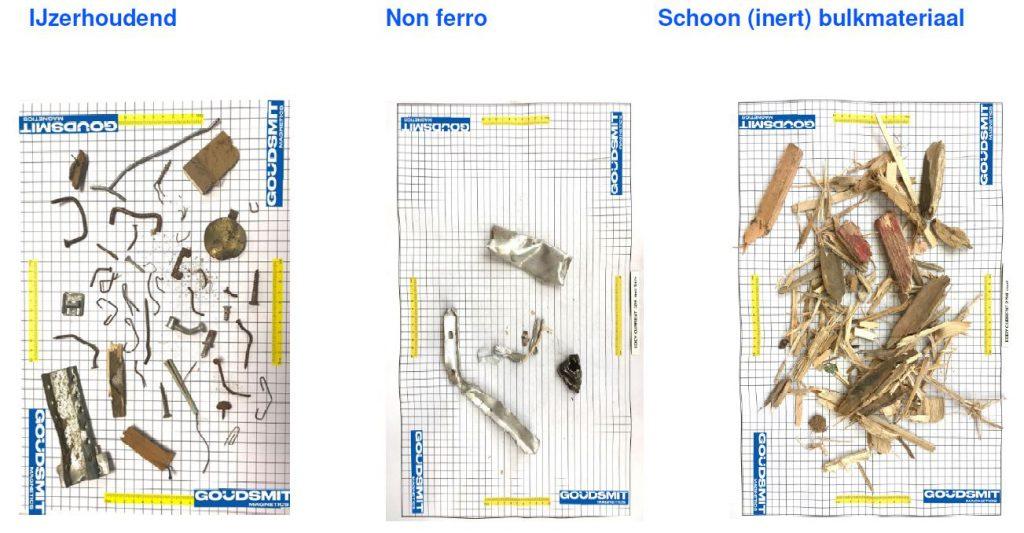 Metaalafscheider verdeelt afvalstroom in drie fracties: ijzerhoudend, non ferro metalen en schone materiaalstroom